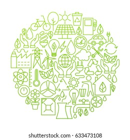 Ecology Line Icon Circle Design. Vector Illustration of Green Power and Environment Objects.