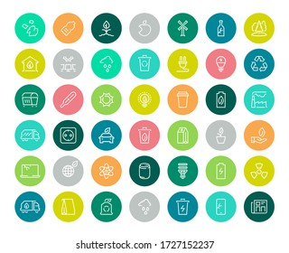 Ecology line icons. Eco nature green set. Environment ecology symbols. Vector collection colorful flat web icon