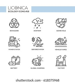 Ecology - line vector modern single line icons set. Biohazard sign, acid rain, ozone hole, power station, earth, deforestation, axe, vehicle fumes, battery, global warming, pollution, factory.