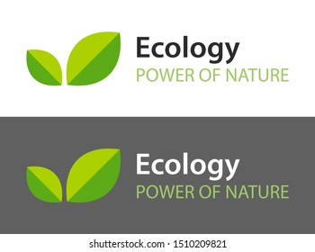 Ecology logo isolated on white and dark background. Green leaves - Icon illustration for natural organic product. Sign for cafe with Vegan or Vegetarian menu, web sites.