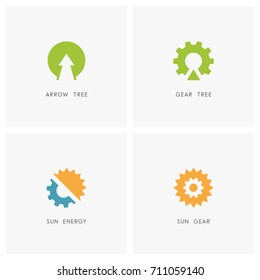 Ecology logo set. Arrow and plant, gear wheel tree, sun or solar with pinion symbol - alternative power source, renewable energy, nature and industry icons.