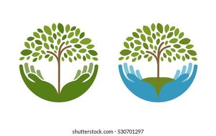 Ecology, natural environment vector logo. Tree, gardening or farming icons