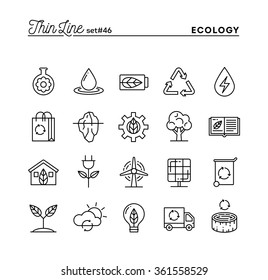 Ecology, nature, clean energy, recycling and more, thin line icons set, vector illustration