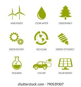 Ecology and nature conservation icons flat design. Eco symbols set