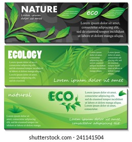 Ecology And Nature Flyer Template Set - Vector Illustration, Graphic Design, Editable For Your Design