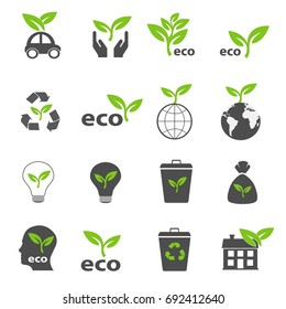 ecology and nature green icons set vector