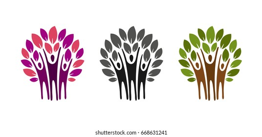 Ecology, nature logo. Tree, charity icon or label. Vector illustration
