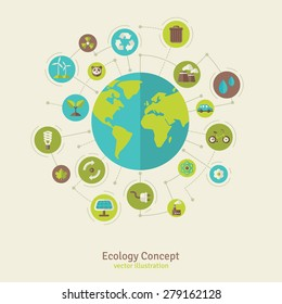 Ecology network connection concept. Vector illustration. Environmental protection infographics template with circles and flat icons. Nature and Pollution.