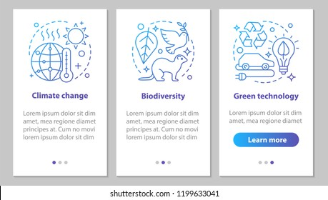 Ecology onboarding mobile app page screen with linear concepts. Climate changing, biodiversity, green technology steps graphic instructions. UX, UI, GUI vector template with illustrations