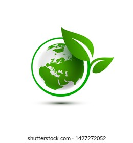 Ecology organic green planet earth. sign on a white background. Vector illustration