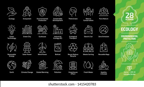 Ecology outline icon set on a black background with green city, eco technology, renewable energy, environmental protection, sustainable, nature conservation, zero emission editable stroke line signs.