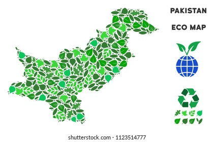 Ecology Pakistan map composition of herbal leaves in green color variations. Ecological environment vector template. Pakistan map is constructed from green herbal icons. Abstract geographic plan.