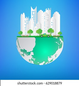 Ecology paper art concept eco friendly and save the earth. vector illustration.