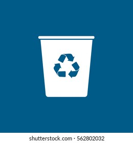 Ecology Plastic Cup With Recycle Sign Flat Icon On Blue Background