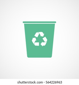 Ecology Plastic Cup With Recycle Sign Green Flat Icon On White Background