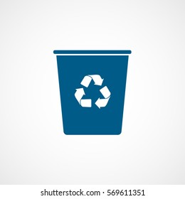 Ecology Plastic Cup With Recycle Sign Blue Flat Icon On White Background