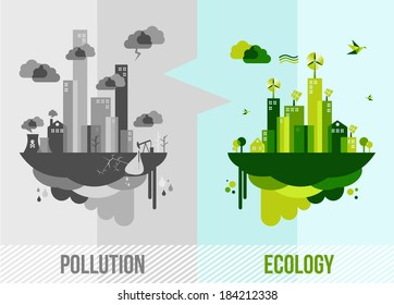 Ecology and pollution city concept. EPS10 vector file organized in layers for easy editing.