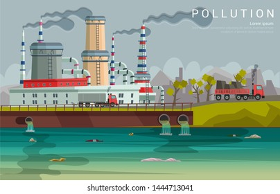Ecology pollution flat banner vector template. Environmental threat, danger. Nature protection poster. Factory dumping hazardous materials in water. Dirty city river illustration with text space