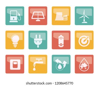 Ecology, power and energy icons over colored background - vector icon set
