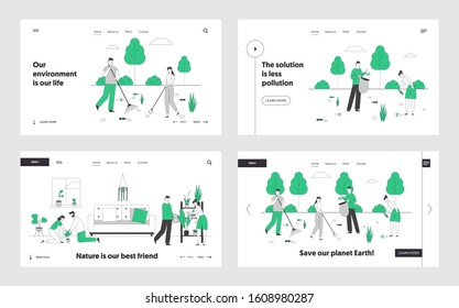 Ecology Protection Charity, Gardening Website Landing Page Set. Volunteers Cleaning Garbage, Collecting Trash to Sack, Couple Care of Plants Web Page Banner. Cartoon Flat Vector Illustration, Line Art