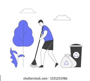 Ecology Protection Concept. Man Volunteer Sweeping Ground in Park Collecting Trash into Bags and Litter Bin with Recycling Sign. Nature Garbage Pollution. Cartoon Flat Vector Illustration, Line Art