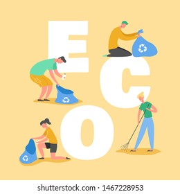 Ecology Protection Concept, People Collecting Trash on Beach. Save our Planet. Volunteers Clean Up Waste and Garbage Poster, Banner, Flyer, Brochure. Cartoon Flat Vector Illustration