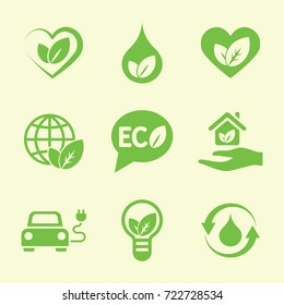 ecology protection green icons set
