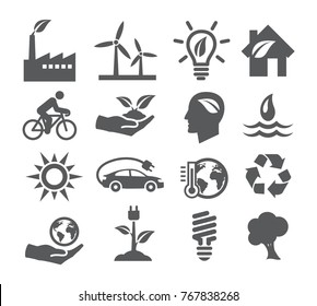 Ecology and Recycling icons on white background