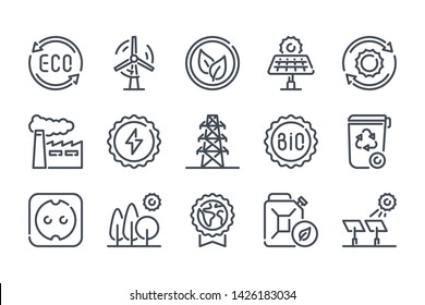 Ecology related line icon set. Ecology and nature linear icons. Environment outline vector sign collection.