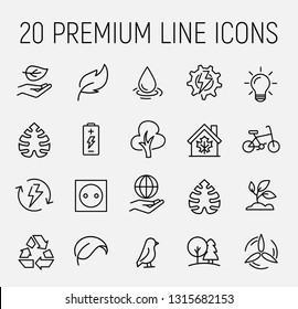 Ecology related vector icon set. Well-crafted sign in thin line style with editable stroke. Vector symbols isolated on a white background. Simple pictograms.