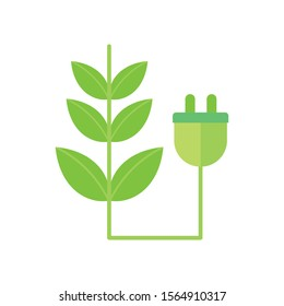 ecology renewable environment plant pulg icon vector illustration