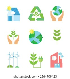 ecology renewable environment recycle icons collection vector illustration
