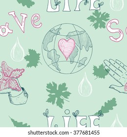 Ecology seamless background with human hand, butterfly, leaves and Earth globe with heart.  Hand drawn line art and doodle eco symbols, green world concept, environment protection theme