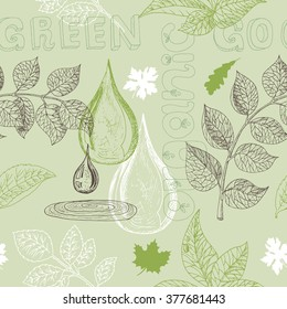 Ecology seamless background with silhouettes of leaves, water drop and text. Hand drawn sketch and doodle eco symbols, green world concept, environment protection theme