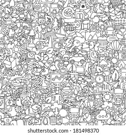 Ecology seamless pattern in black and white (repeated) with mini doodle drawings (icons). Illustration is in eps8 vector mode.