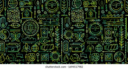 Ecology seamless pattern. Global environment and recycling. Vector illustration