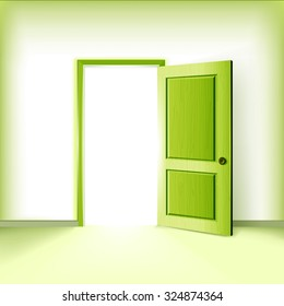 Ecology service creative vector illustration. Green open door idea.