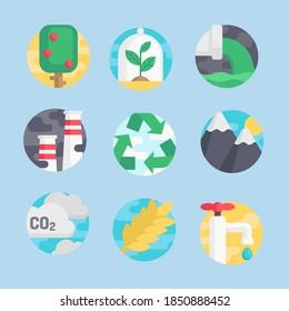 Vektorgrafik von Symbolen für ökologische Zeichensätze