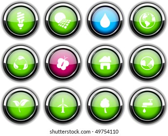 Ecology set of round glossy icons.
