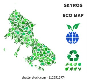 Ecology Skyros Greek Island map mosaic of plant leaves in green color tinges. Ecological environment vector template. Skyros Greek Island map is formed of green herbal parts. Abstract area scheme.