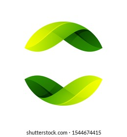 Ecology sphere logo formed by twisted green leaves. Vector design template elements for vegan, bio, raw, organic template.