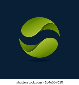 Ecology sphere logo made of twisted green leaves. Vector icon for agriculture labels, botanical headlines, herbal posters, foliage identity etc.