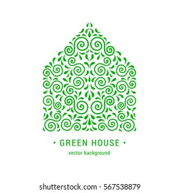 Ecology style flourish emblem. Decorative ornamental house made of green swirls and leaves. Eco design embellishment. EPS 10 vector illustration. Isolated
