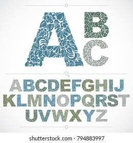 Ecology style flowery font, colorful vector typeset made using natural ornament. Alphabet capital letters created with spring leaves and floral design.