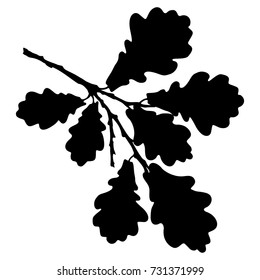 Ecology stylized vector illustration. Oak leaf, acorn and branch isolated silhouette. Eco nature seasonal graphic