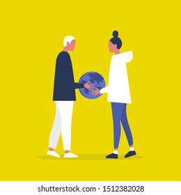Ecology. Sustainability. Responsibility. Eco friendly behaviour. Two characters holding a globe. Planet Earth. Flat editable vector illustration, clip art