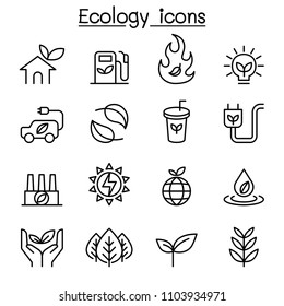Ecology & Sustainable lifestyle icon set in thin line style