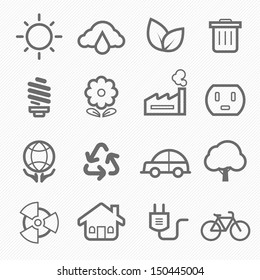 ecology symbol line icon on white background vector illustration