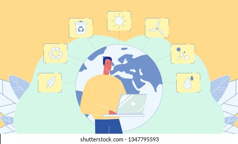 Ecology Symbols, Signs Cartoon Vector Illustration. Man with Laptop. Ecologist Flat Character. Planet Earth with Continents. Globe. Recycle. Electric Power Windmill. Environment Protection