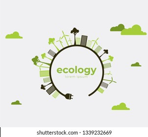 Ecology theme Earth Day flyer template Bright green trees and buildings concept. Poster, card, label, banner design. Bright and stylish geometrical background.